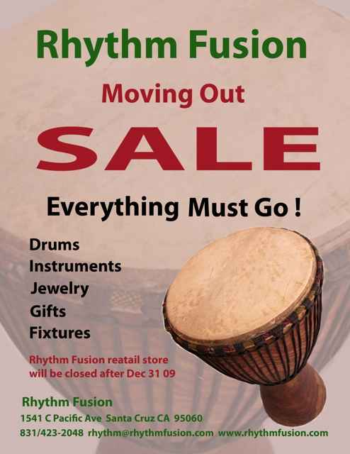 Rhythm Fusion Moving Out Sale Poster